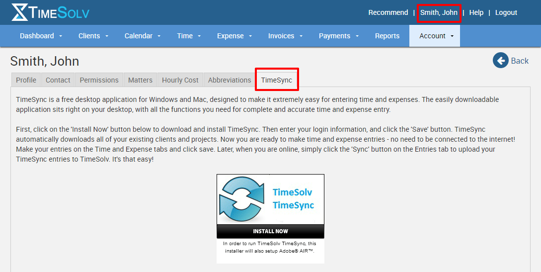Screenshot of how to get TimeSync