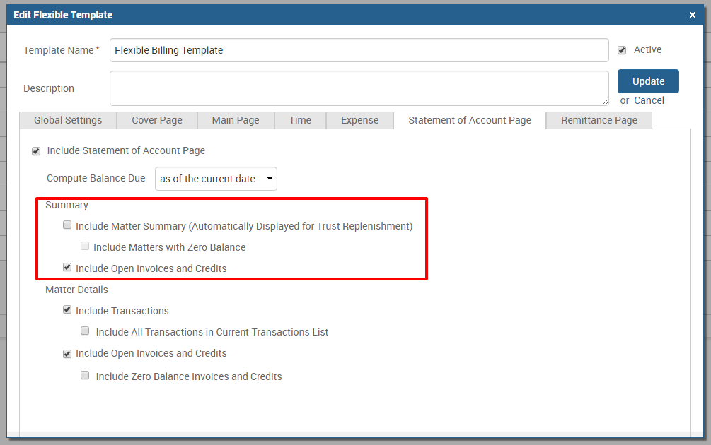 Statement of Account summary options